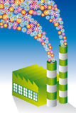 Green factory. Environmentally-friendly green factory with chimneys stock illustration