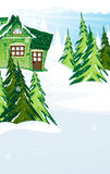 Green fairy house in winter forest Royalty Free Stock Image