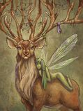 Deer and fairy. Green fairy sits on a back of deer Stock Photo