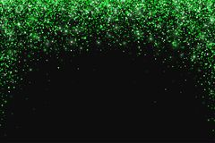 Green falling particles round shape on dark backround. Vector. Illustration Stock Images