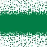 Green falling shamrocks leaf on white background. Card for Patricks day. Decorative banner vector i. Llustration Royalty Free Stock Image