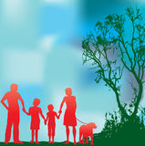 Green Family. Background illustration of a family walking in a green environment stock illustration