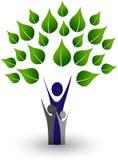 Green family tree with love logo vector illustration