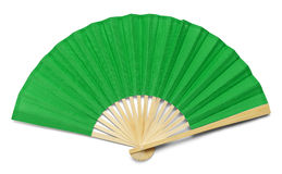 Green Fan. Green Open Hand Fan Isolated on a White Background Royalty Free Stock Image