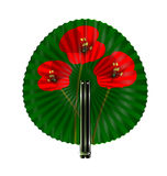 Green fan with red flowers Stock Photography