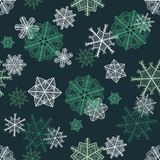 Green fancy snowflakes seamless pattern Stock Photography