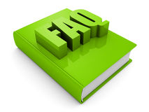 Green FAQ book on white background. 3d render illustration Royalty Free Stock Image