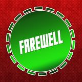Green FAREWELL badge on red pattern background. Illustration Stock Image