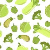 Green Farm Fresh Vegetables Seamless Pattern, Healthy Food Vector Illustration. Organic, Natural Background stock illustration