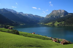 Green farmland, lake Waegitalersee and Fluebrig Stock Images