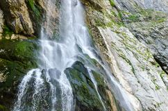 The alpine waterfall. The green fast alpine waterfall royalty free stock images