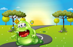 A green fat monster travelling. Illustration of a green fat monster travelling Stock Photos