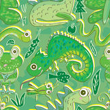 Green Fauna Flora Seamless Pattern_eps Stock Image
