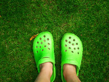 Green feet. Two feet on a green meadow Stock Photography