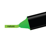 Green felt pen with nature word illustration Royalty Free Stock Images