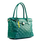 Green female leather handbag isolated on white background. Stock Images