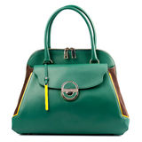 Green female leather handbag isolated on white background. Royalty Free Stock Photo