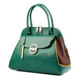 Green female leather handbag isolated on white background. Royalty Free Stock Photos