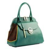 Green female leather handbag isolated on white background. Royalty Free Stock Photography