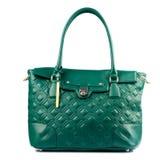 Green female leather handbag isolated on white background. Stock Photo