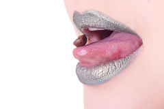 Green female lips with coffee seed Royalty Free Stock Photography
