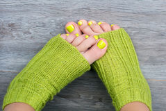 Green female pedicure Royalty Free Stock Image