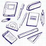 Set of school supplies on checked paper. Set of vector illustrations of school supplies. Blue ink doodles on lined paper background Stock Image