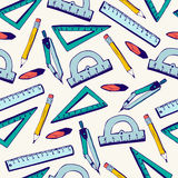 Seamless pattern School supplies Royalty Free Stock Image