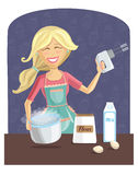 Happy woman cooking dough Royalty Free Stock Images