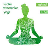 Green female silhouette in yoga pose Royalty Free Stock Photos