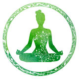Green female silhouette in yoga pose Royalty Free Stock Image