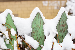 Green fence with snow in winter Royalty Free Stock Images