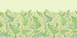 Green Fern Leaves Horizontal Seamless Pattern Stock Photo