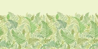 Green Fern Leaves Horizontal Seamless Pattern