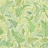Green Fern Leaves Seamless Pattern Background. Vector Line Art Fern Leaves Seamless Pattern Background with hand drawn textured fern plants Royalty Free Stock Photo