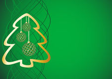 Green festive background. With golden silhouette of the fir tree and festive ball Stock Photography