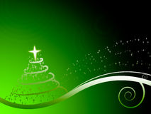 Green festive background. With tree and stars Stock Images