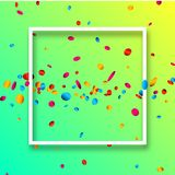 Green festive background with colorful confetti. Green festive background with white frame and colorful oval confetti. Vector illustration Royalty Free Stock Image