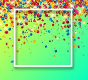 Green festive background with colorful confetti. Green festive background with white frame and glossy colorful oval confetti. Vector illustration.r Stock Photos