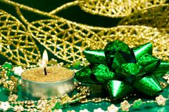 Green festive bow Stock Images