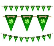 Green festive flags with clovers. For Irish holiday, celebration party. Vector illustration for greeting card, poster, banner Royalty Free Stock Image