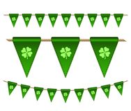 Green festive flags with clovers. For Irish holiday, celebration party. Vector illustration for greeting card, poster, banner Royalty Free Stock Photography
