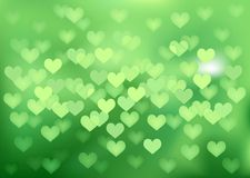 Green festive lights in heart shape, vector. Vector background defocused festive lights, no size limit Royalty Free Stock Images