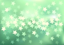 Green festive lights in star shape, vector. Vector background defocused festive lights, no size limit Royalty Free Stock Image