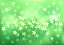 Green festive lights in star shape, vector. Vector background defocused festive lights, no size limit Stock Image