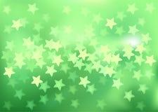 Green festive lights in star shape, vector Stock Image