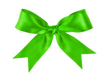 Green festive tied bow made from ribbon Royalty Free Stock Images