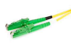 Green fiber optic E2000 connector Stock Photos