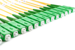 Green fiber optic SC connectors Royalty Free Stock Photos