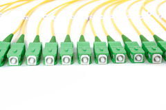 Green fiber optic SC connectors Royalty Free Stock Images